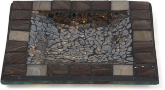 "Mosaic by Fragments - 6"" Mosaic Sq.Candle Holder"