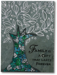 "Family by Fragments - 6""x8"" Slate w/Mosaic Plaque"
