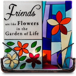 "Friends by Shine on Me - 5"" Glass Tea Light Holder"