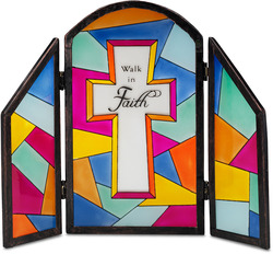 "Walk in Faith by Shine on Me - 7""x6"" Glass Panel Plaque"