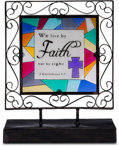 "Faith by Shine on Me - 6.5""x8.25"" Glass Plaque"
