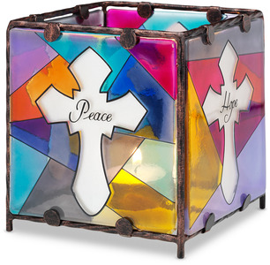 "Peace Hope Faith Love by Shine on Me - 4"" x 4"" Glass Candle Holder"