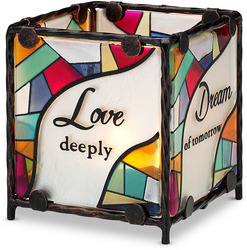"Love Dream Cherish Believe by Shine on Me - 3"" x 3"" Glass Candle Holder"