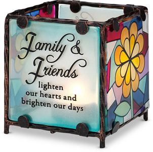 "Family & Friends by Shine on Me - 3"" x 3"" Glass Candle Holder"