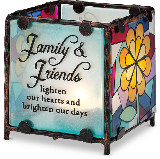 Family & Friends by Shine on Me - The style resembles church stained glass. It will arrive in a beautiful gift box. The candle is not included.