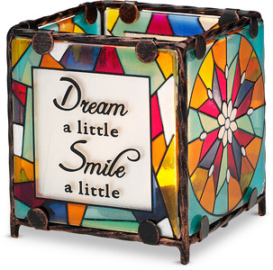 "Dream Smile Hope Laugh by Shine on Me - 3"" x 3"" Glass Candle Holder"