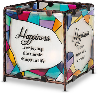 "Happiness by Shine on Me - 4"" x 4"" Glass Candle Holder"