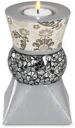 "Silver Mosaic by UpWords - 5.5"" Tea Light Holder"